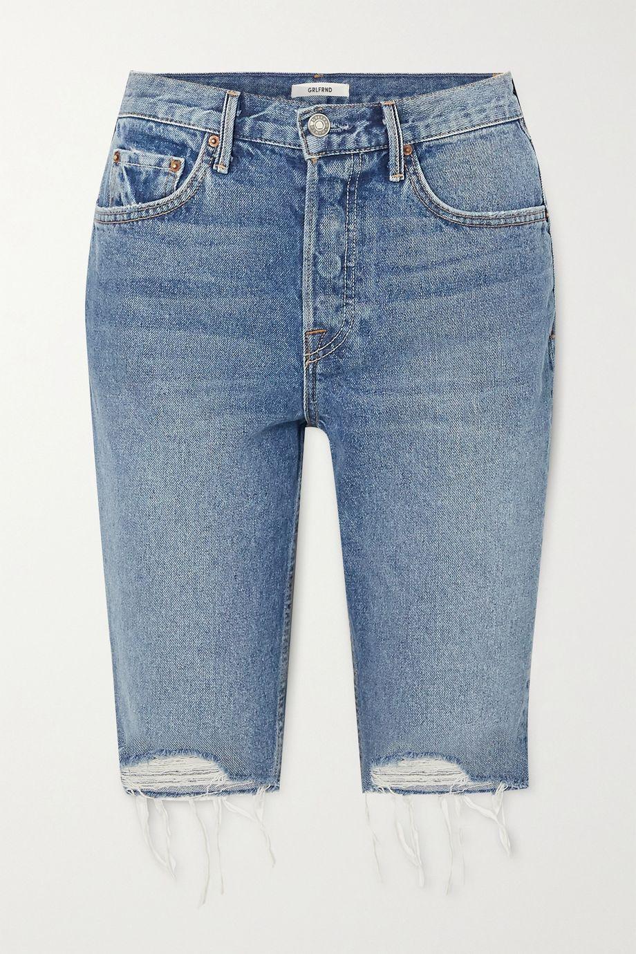 GRLFRND Beverly distressed denim shorts