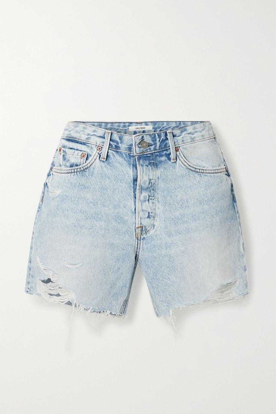 GRLFRND Jourdan distressed denim shorts