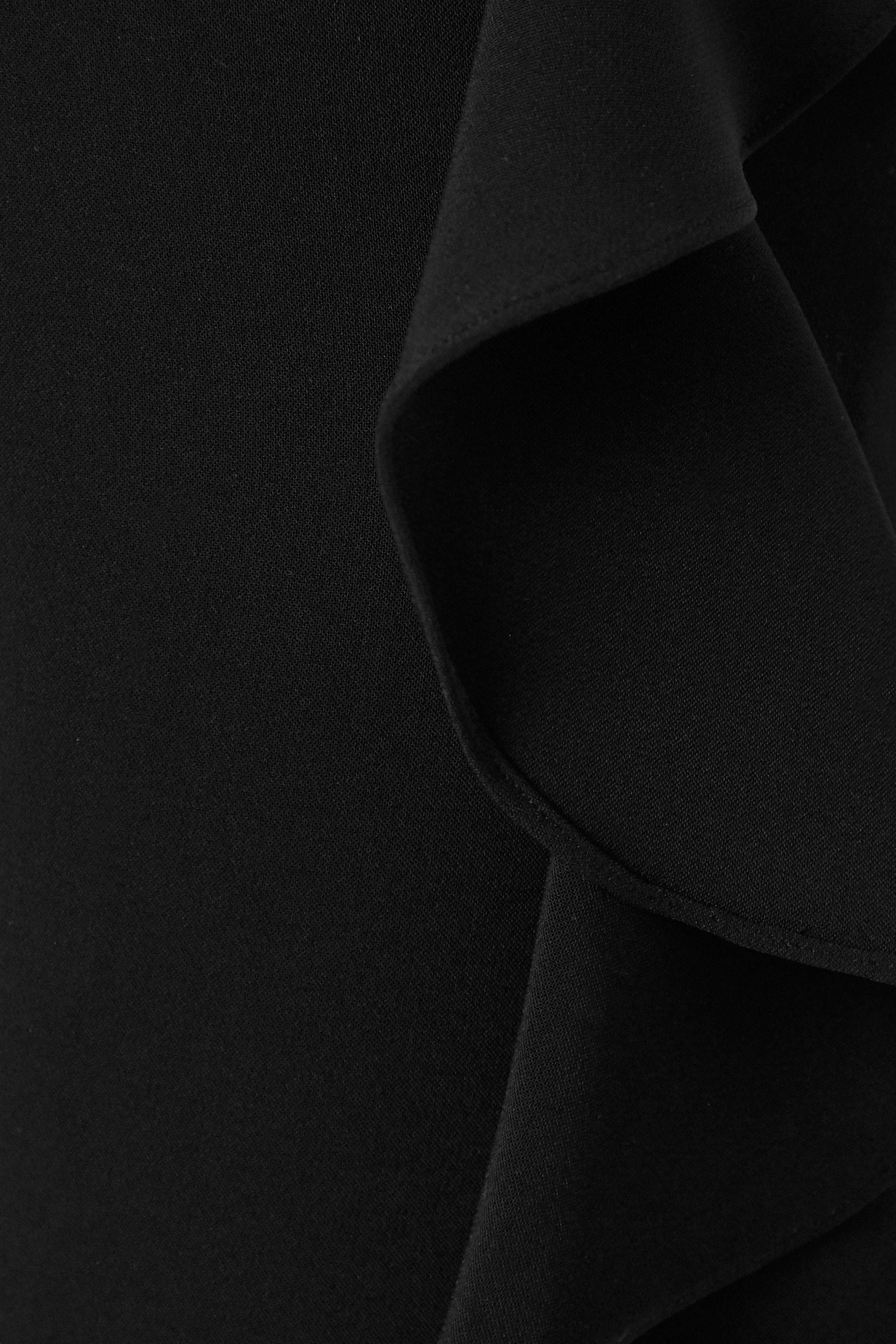 Marchesa Notte One-shoulder draped crepe jumpsuit