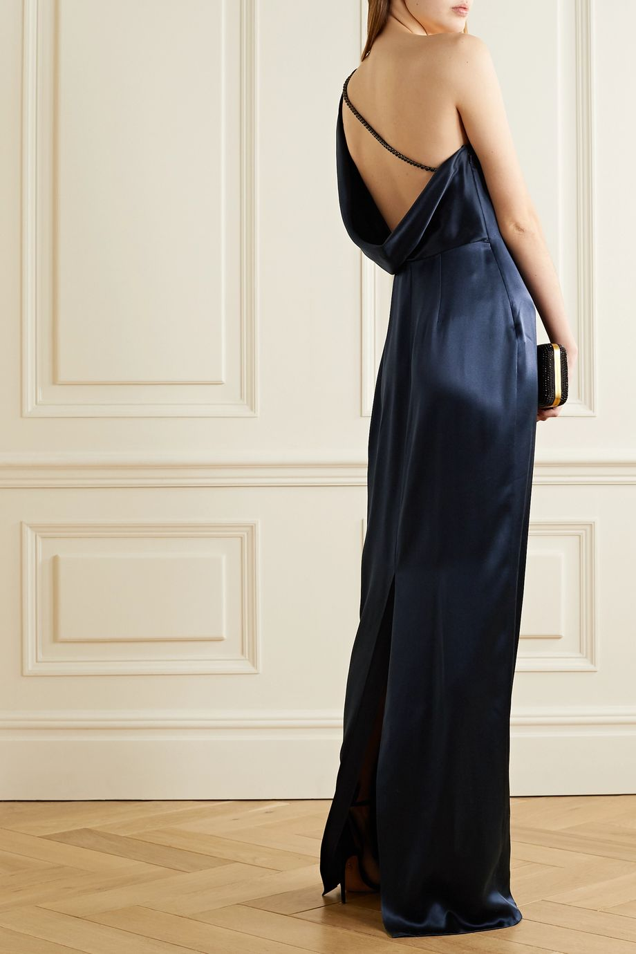 Cushnie One-sleeve draped crystal-embellished silk-charmeuse gown