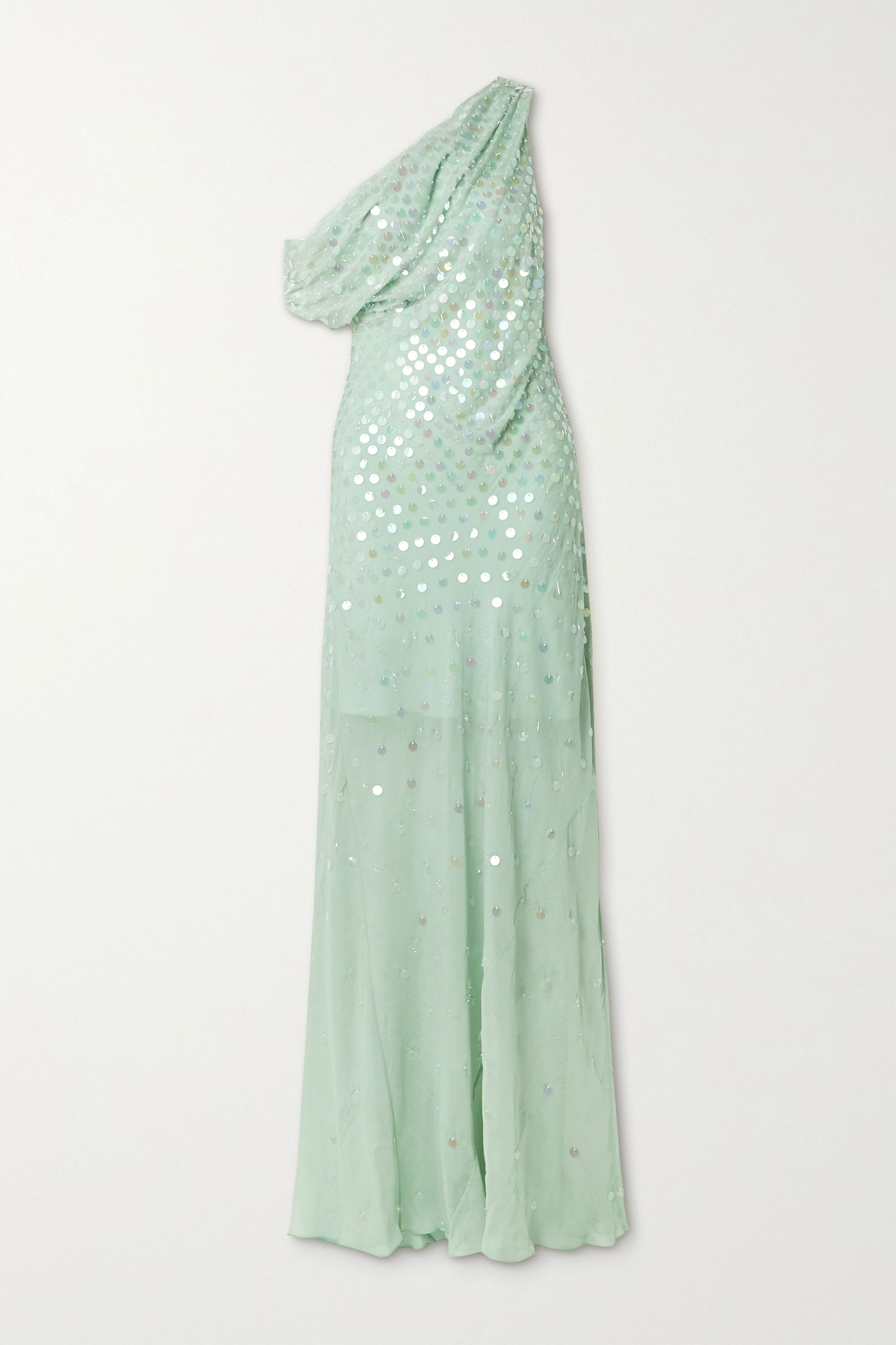 Mint One Shoulder Draped Sequin Embellished Silk Chiffon Gown Cushnie Net A Porter