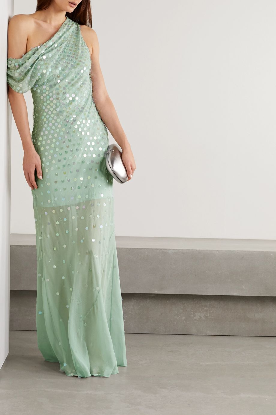 Cushnie One-shoulder draped sequin-embellished silk-chiffon gown