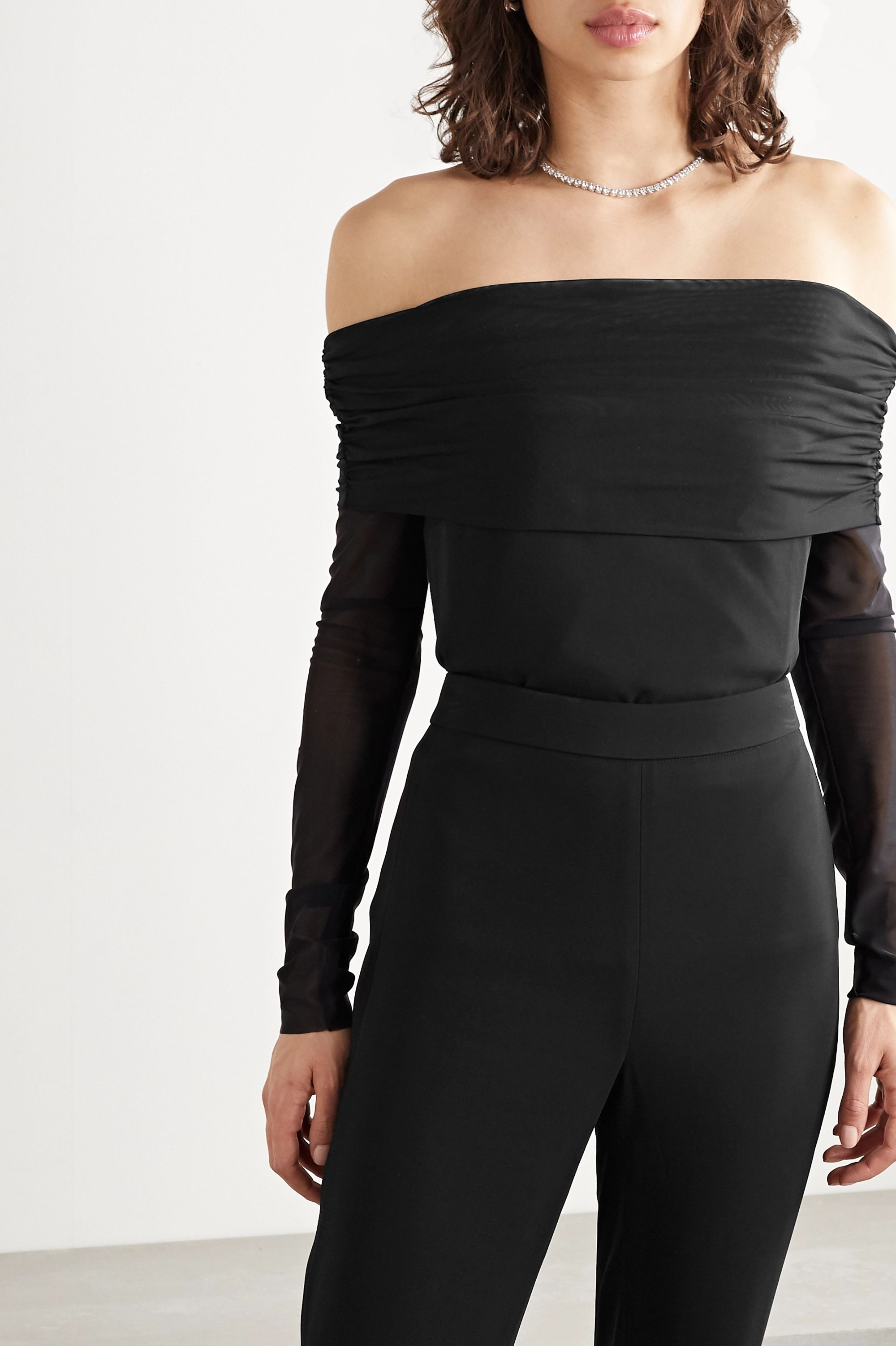 Cushnie Off-the-shoulder ruched tulle and cady top