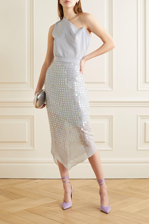 Cushnie Asymmetric embellished silk-chiffon skirt