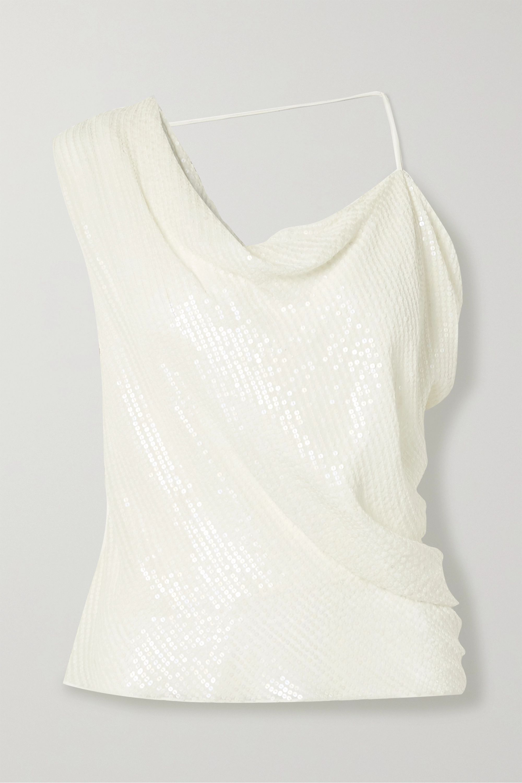 Cushnie Asymmetric draped sequined silk-chiffon top