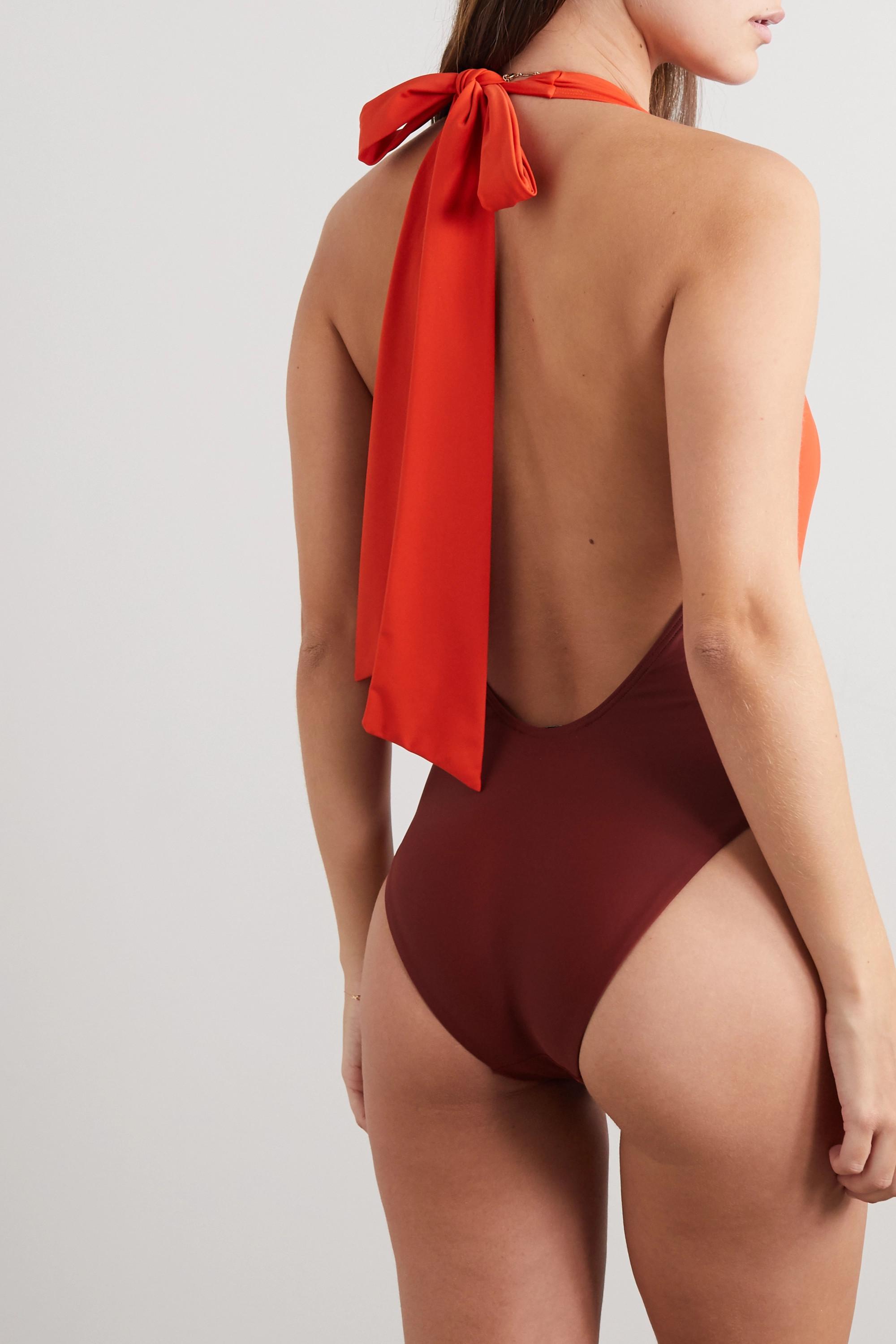 Self-Portrait Tie-front two-tone halterneck swimsuit