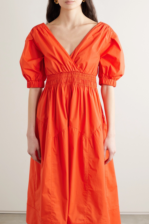 Self-Portrait Shirred cotton-poplin midi dress