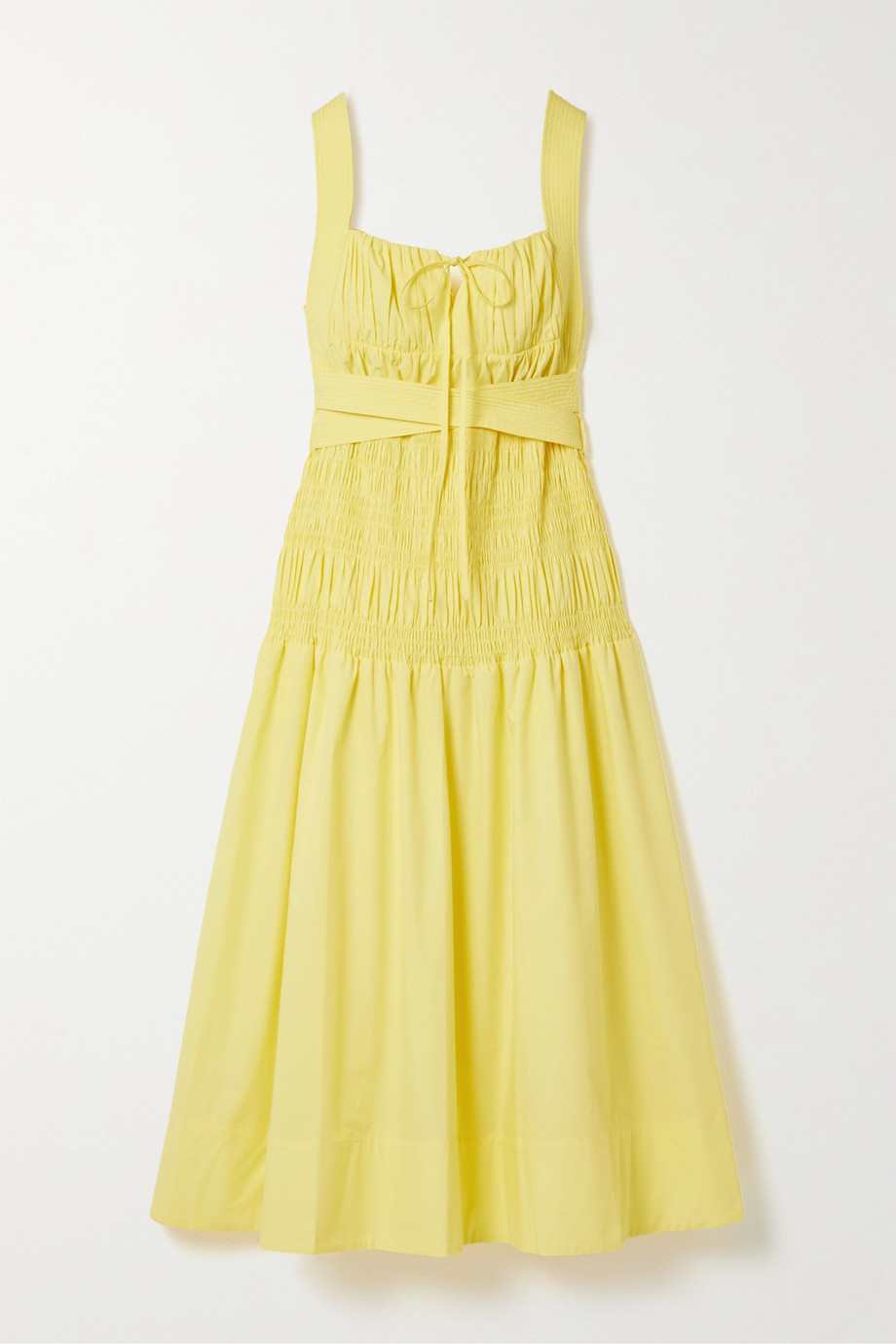 Self-Portrait Belted shirred cotton-poplin midi dress