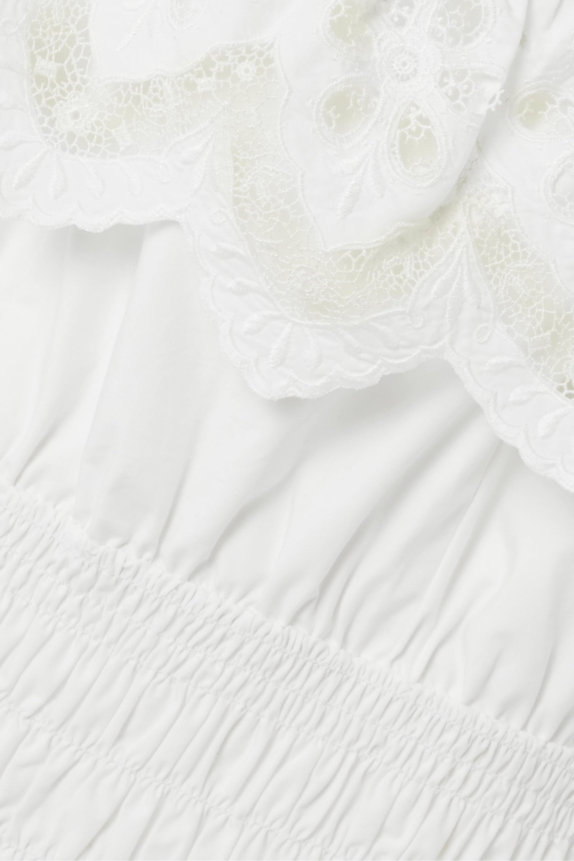 Self-Portrait Shirred broderie anglaise cotton-poplin mini dress