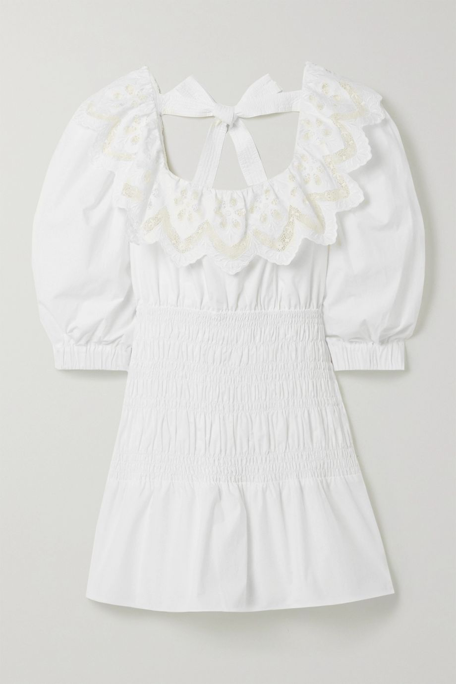 Self-Portrait Shirred broderie anglaise cotton-poplin mini dress