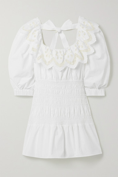 Self-Portrait - Shirred Broderie Anglaise Cotton-poplin Mini Dress - White