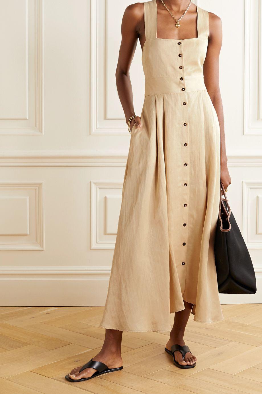 La Ligne Pleated linen-blend midi dress
