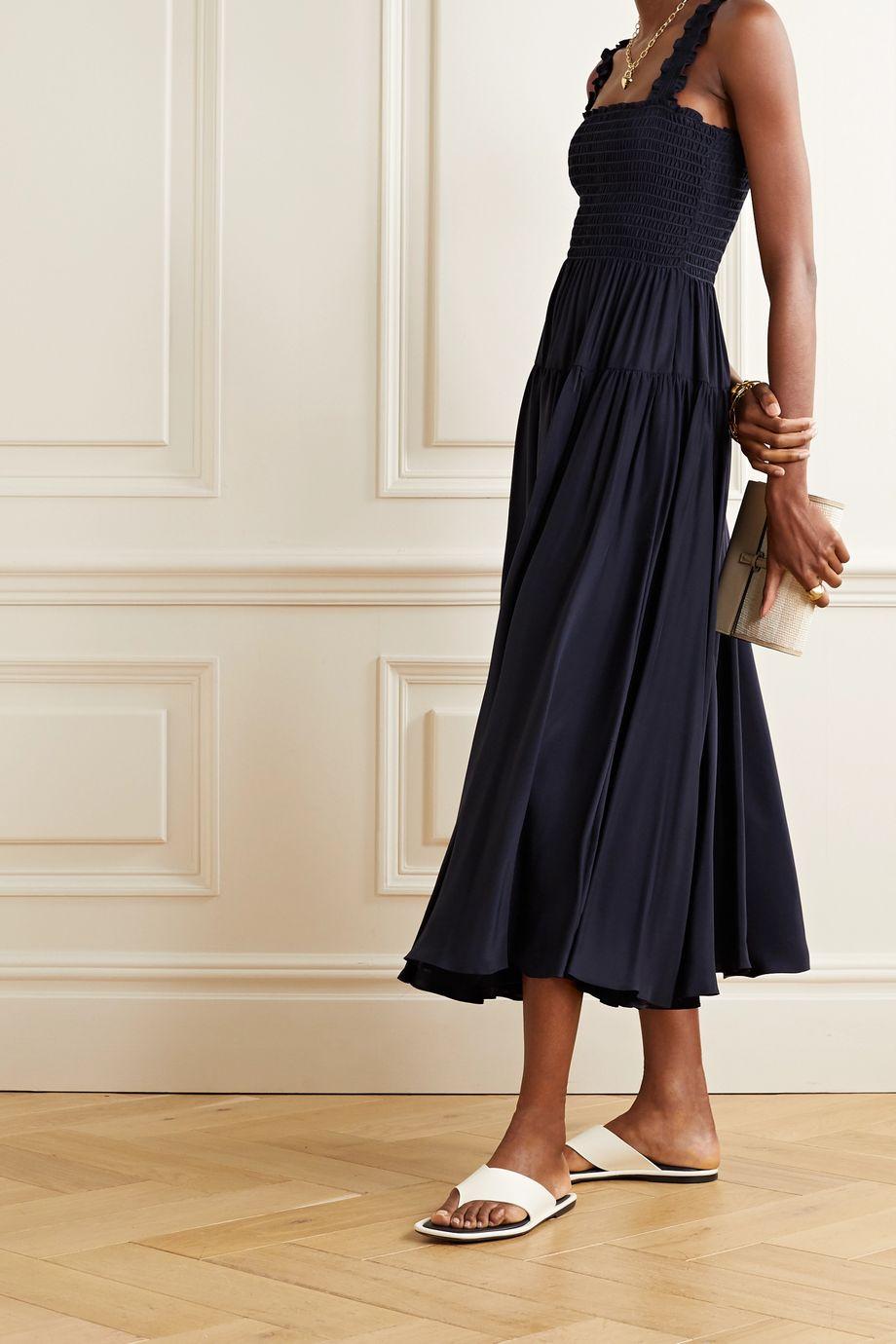 La Ligne Vera off-the-shoulder smocked silk-satin midi dress