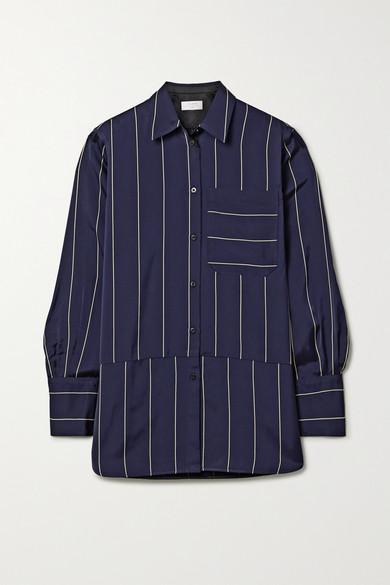 La Ligne Sadie paneled striped crepe de chine shirt