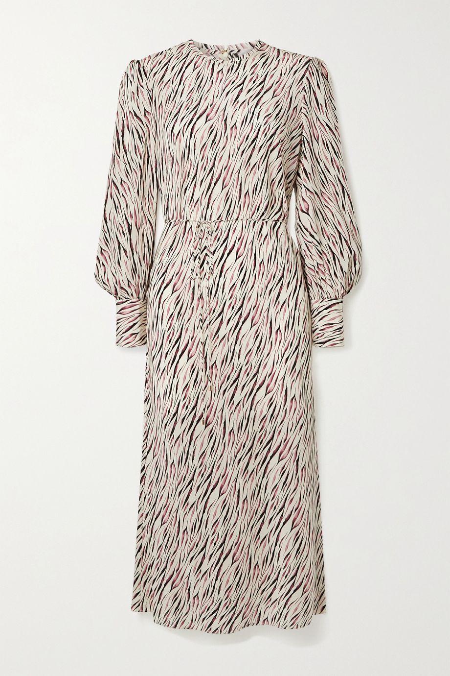 Rebecca Vallance Belted tiger-print silk-crepe midi dress
