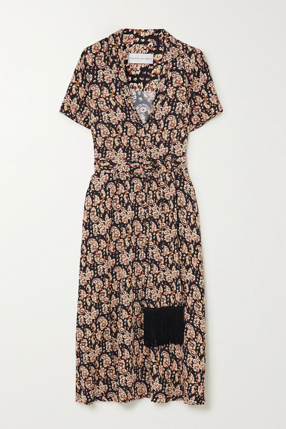 Rebecca Vallance Josephine belted printed crepe midi dress