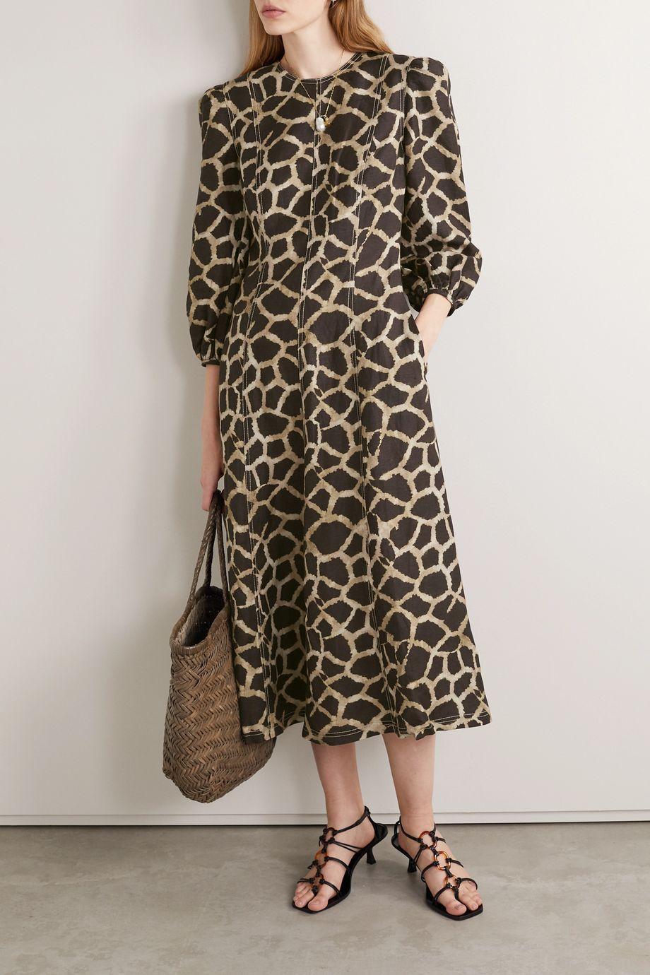 Rebecca Vallance Acacia paneled printed linen-blend midi dress
