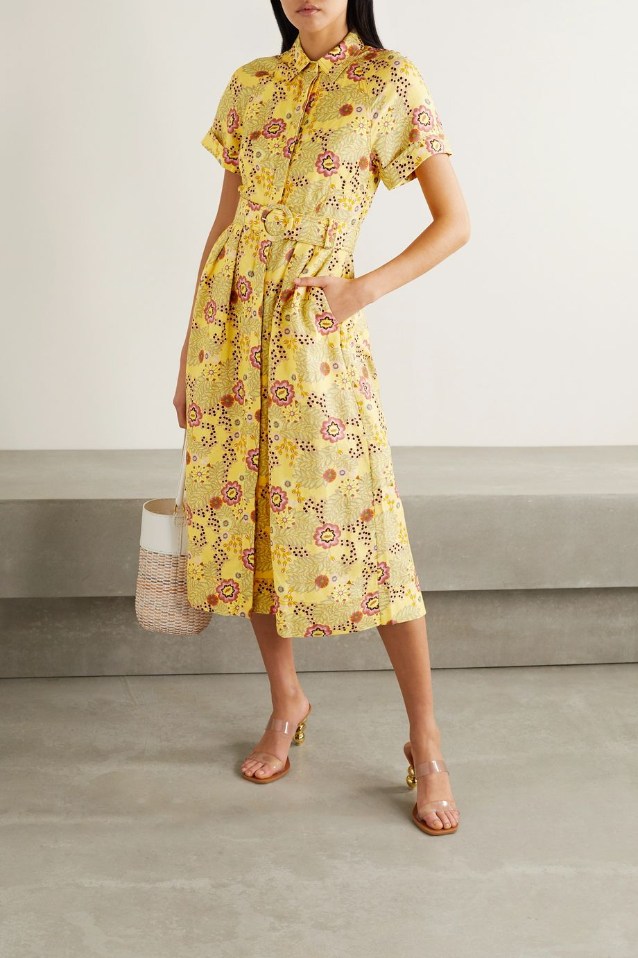 Rebecca Vallance Sahara belted floral-print linen-blend midi dress