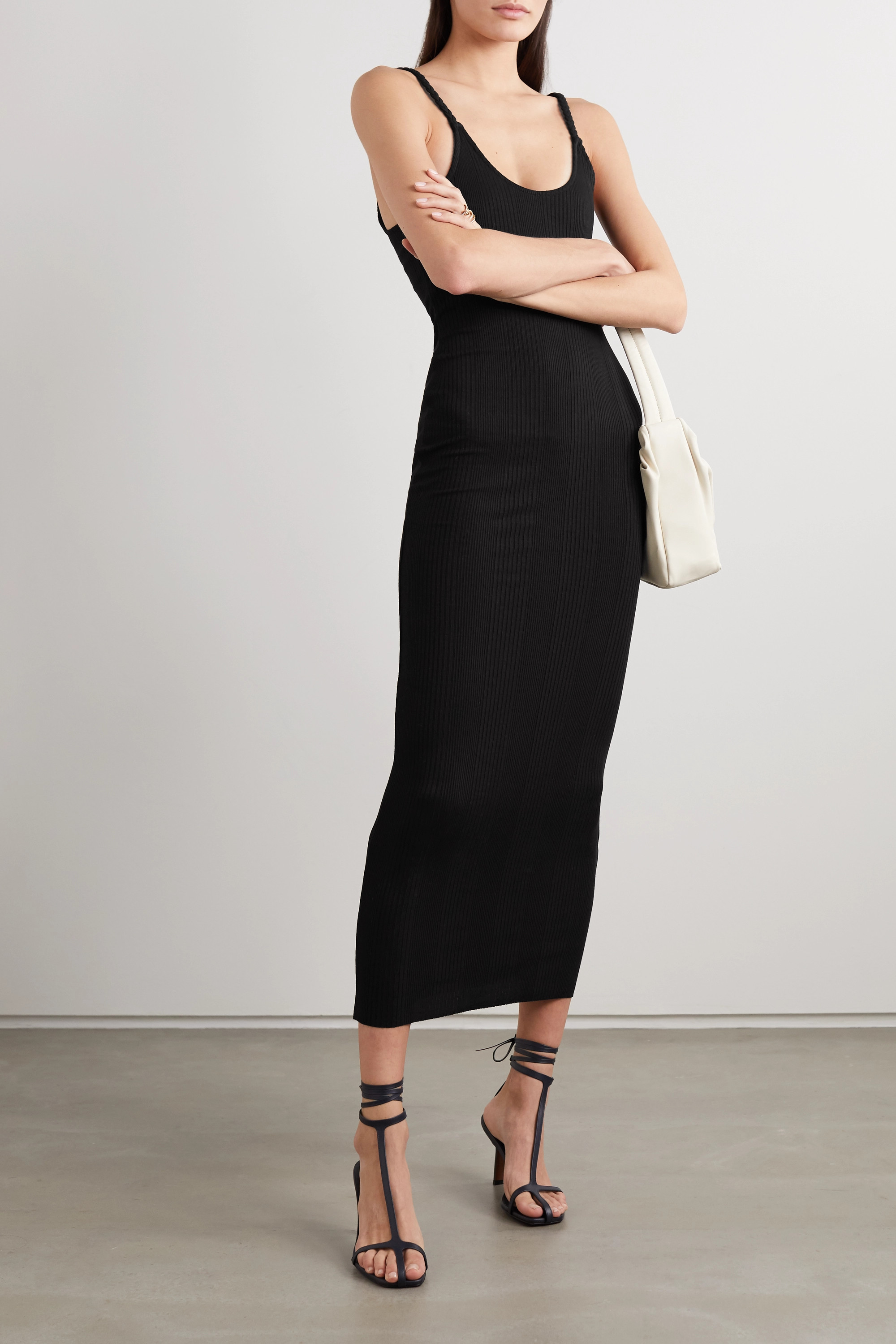 The Range Division braided ribbed stretch-jersey midi dress