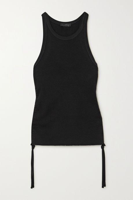 Black Gathered waffle-knit stretch-cotton tank | The Range Jbp3xp