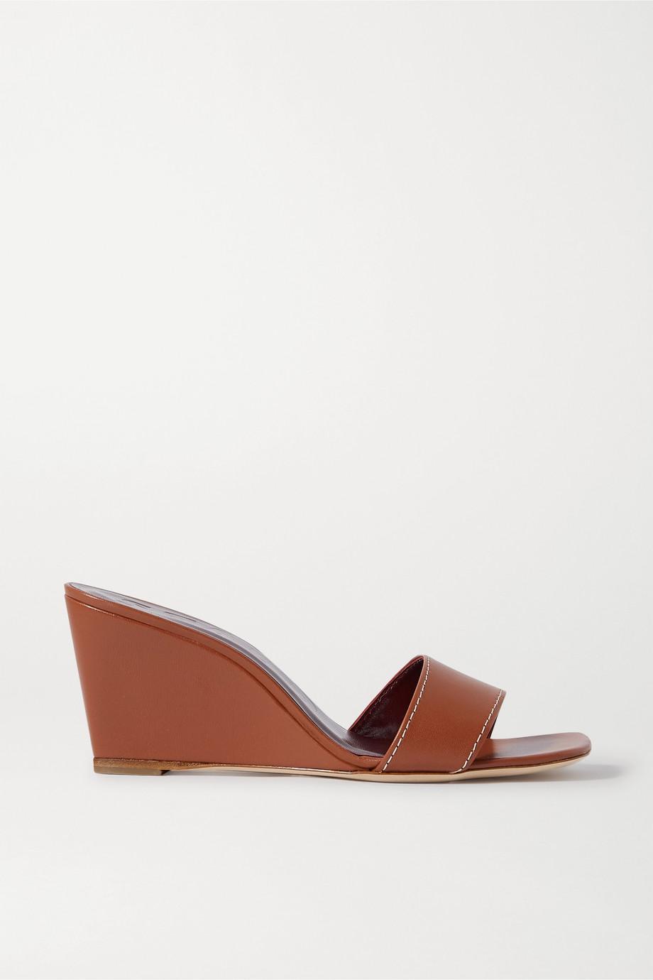 STAUD Billie topstitched leather wedge sandals