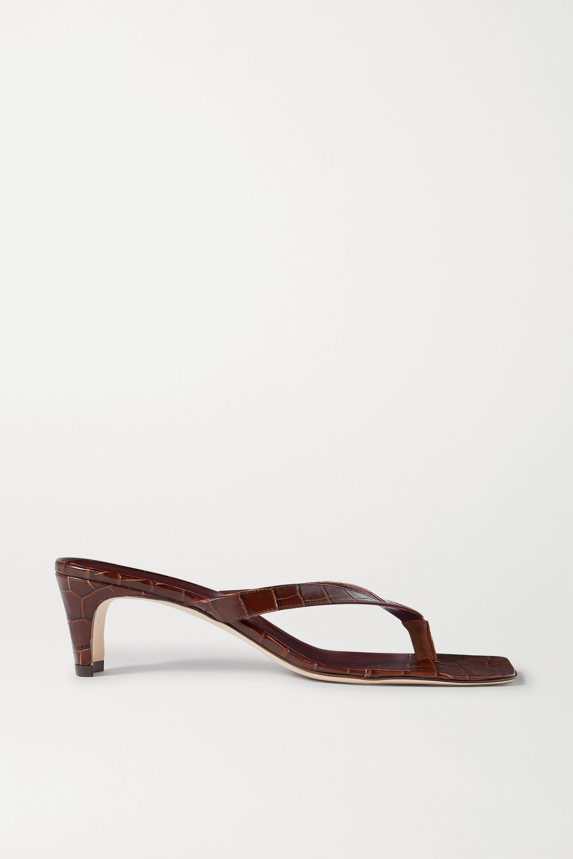 STAUD Audrey croc-effect leather sandals