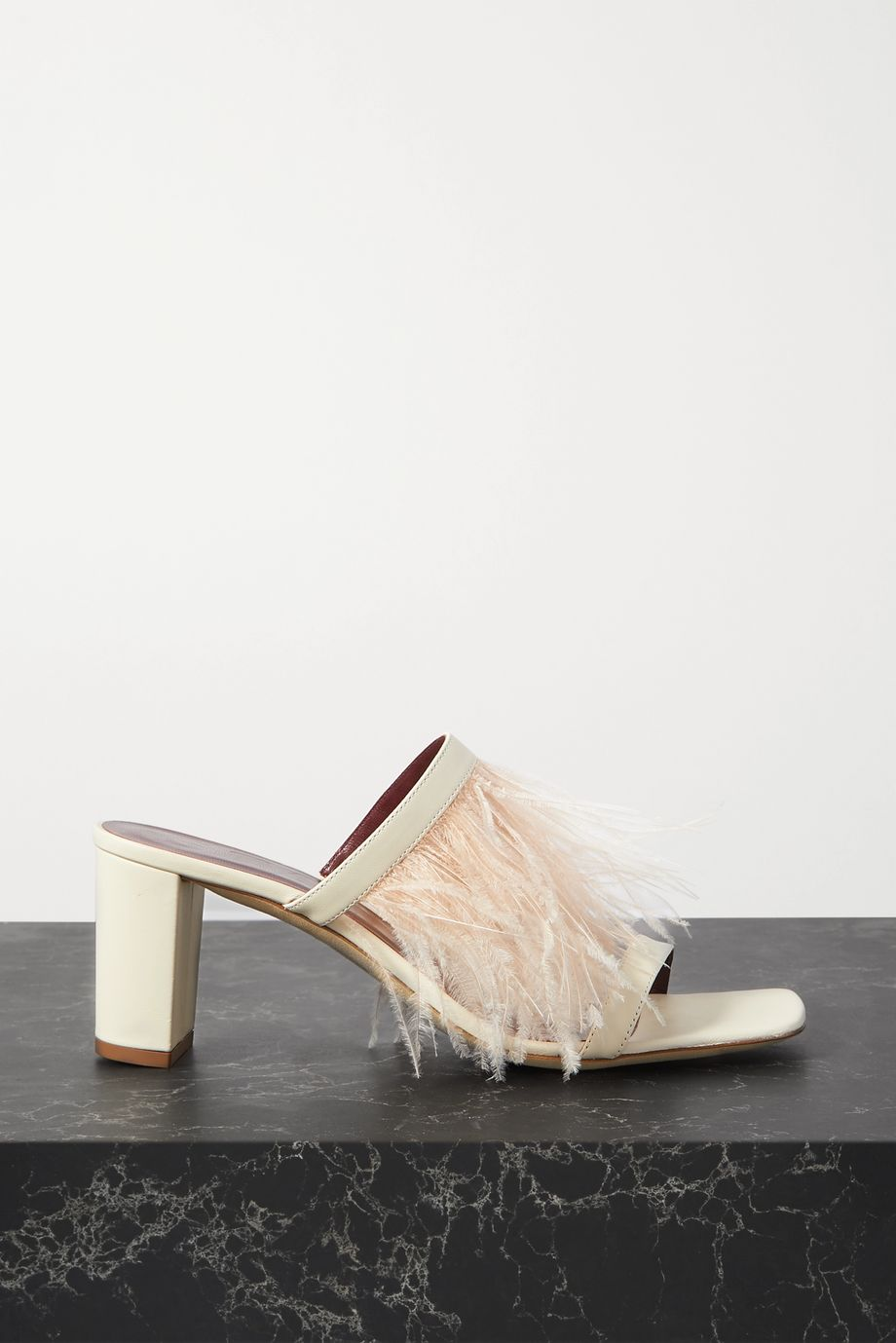 STAUD Franka feather-trimmed leather sandals