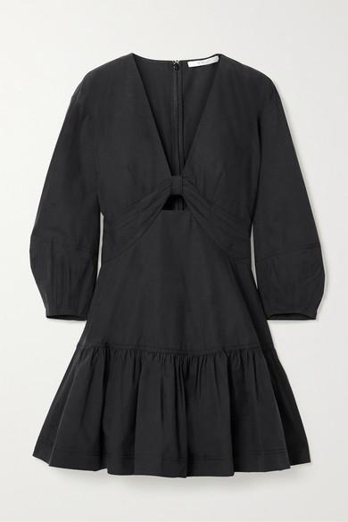 10 Crosby by Derek Lam - Talia Cutout Cotton And Tencel-blend Poplin Mini Dress - Black