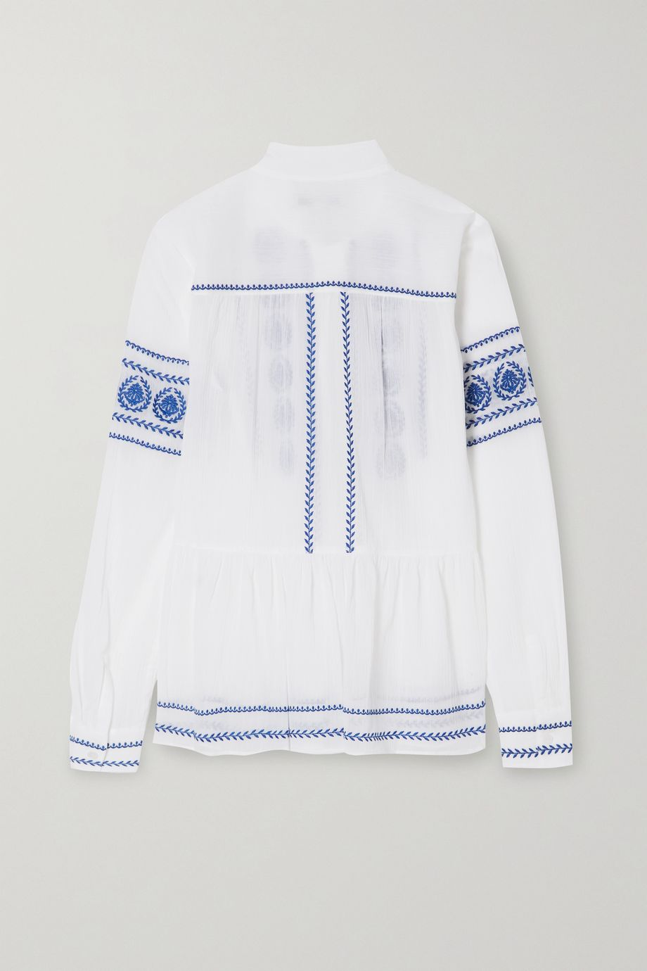10 Crosby by Derek Lam Aliani embroidered cotton-voile blouse