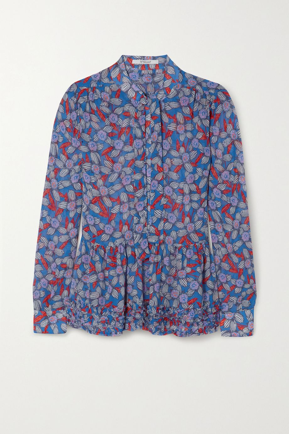 10 Crosby by Derek Lam Ailani pussy-bow ruffled printed crepe de chine blouse
