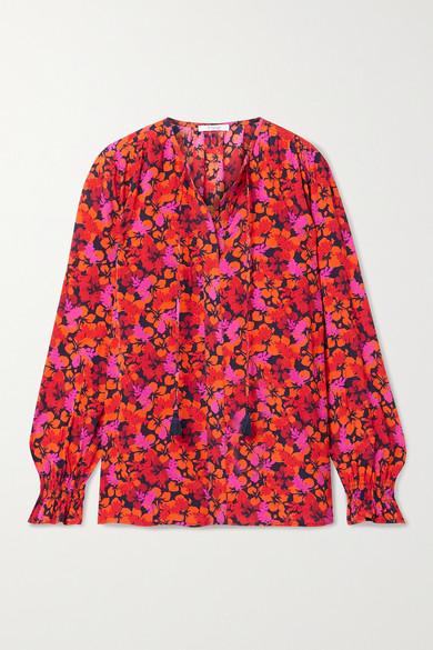 10 Crosby by Derek Lam - Aria Smocked Floral-print Crepe Blouse - Pink