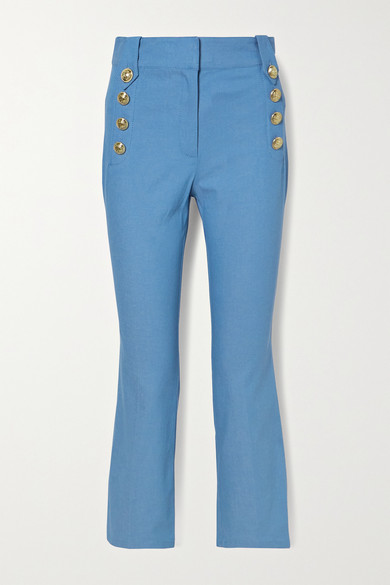 10 Crosby by Derek Lam - Robertson Button-detailed Cotton-blend Chambray Flared Pants - Cobalt blue