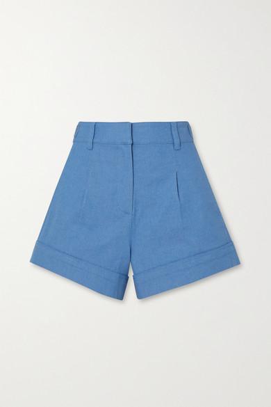 10 Crosby by Derek Lam - Mari Button-detailed Cotton-blend Chambray Shorts - Blue
