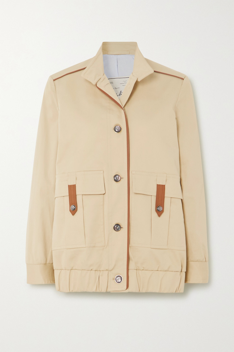 Giuliva Heritage + NET SUSTAIN + Space for Giants The Finch leather-trimmed cotton-blend jacket