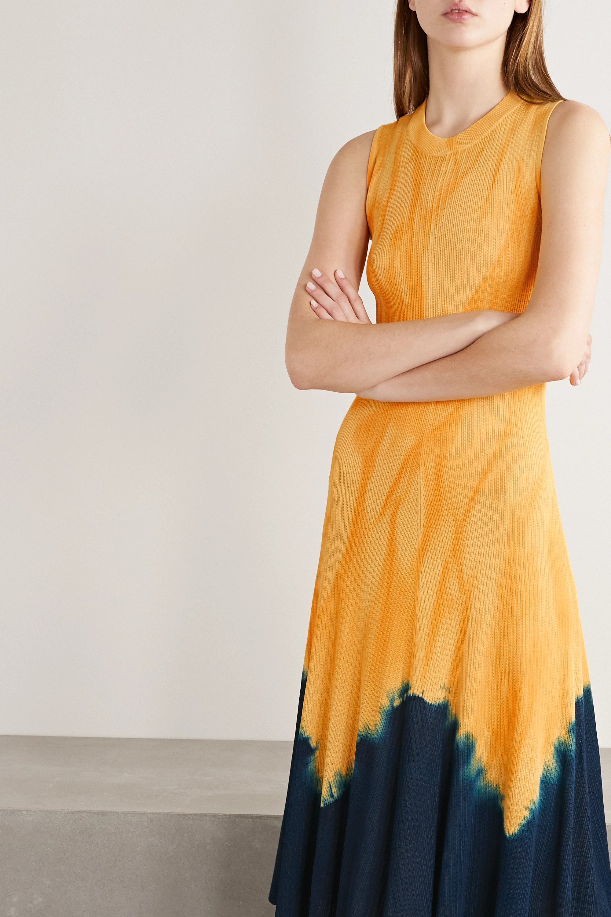 Proenza Schouler Knotted tie-dyed ribbed-knit midi dress