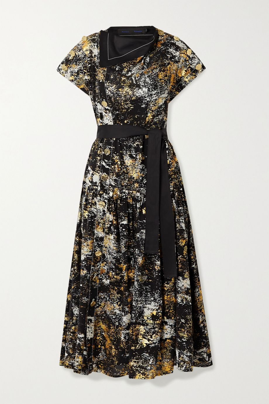 Proenza Schouler Layered belted metallic printed silk midi dress