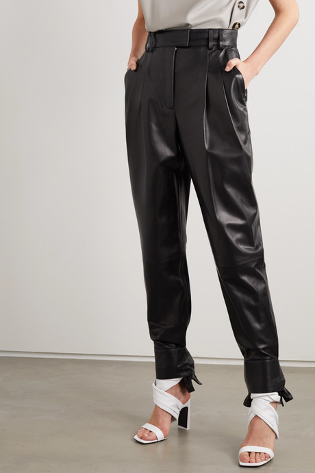 Tie-detailed pleated leather tapered pants