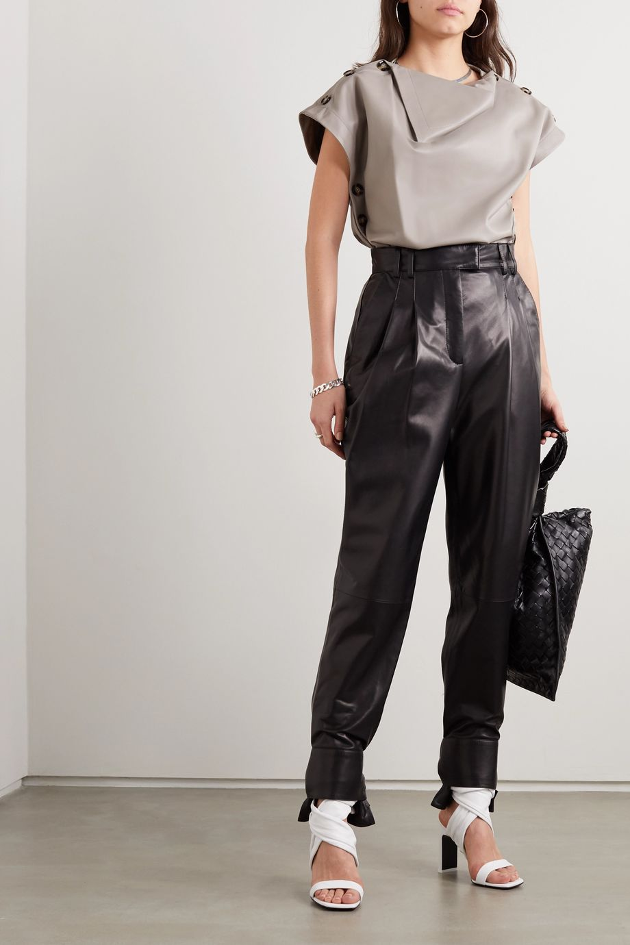 Proenza Schouler Tie-detailed pleated leather tapered pants
