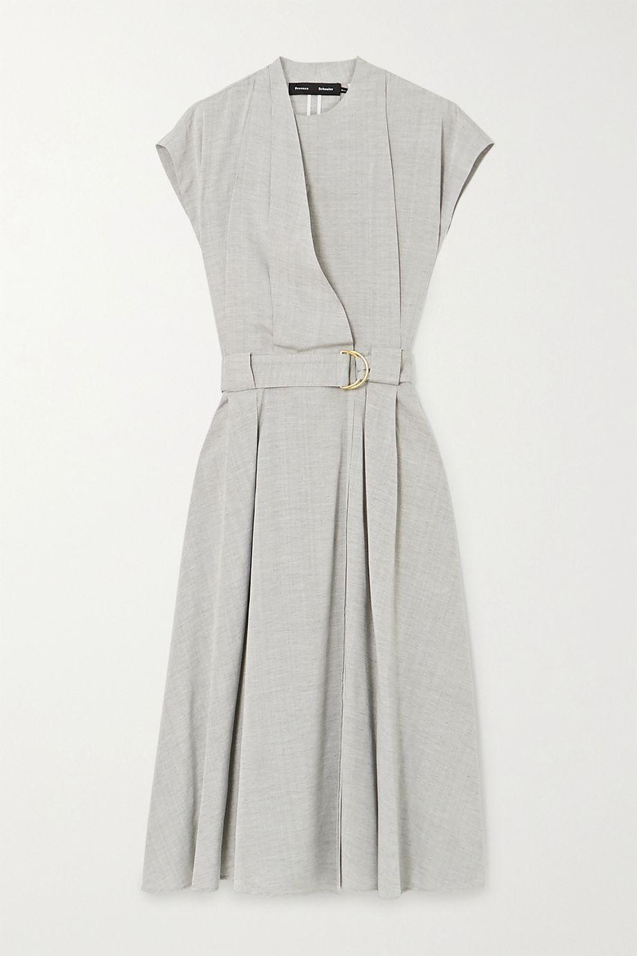 Proenza Schouler Belted wrap-effect woven midi dress