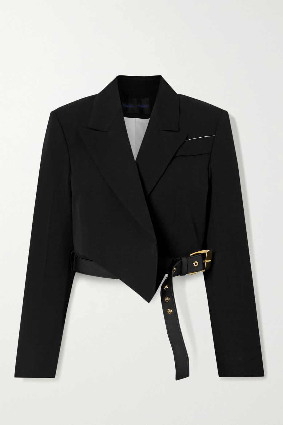 Proenza Schouler Cropped leather-trimmed woven blazer
