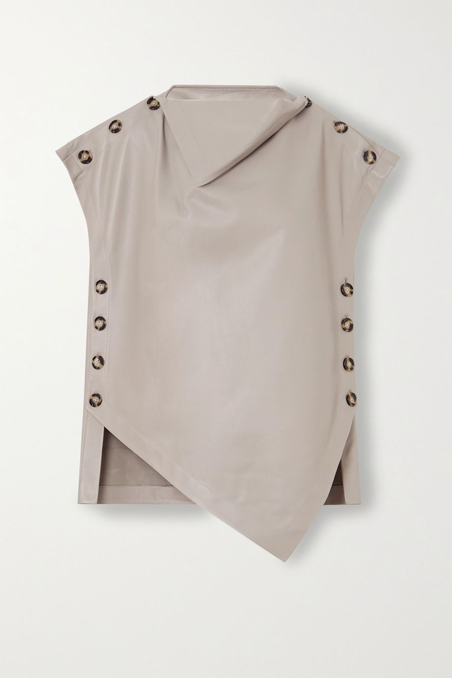 Proenza Schouler Oversized button-detailed draped leather top