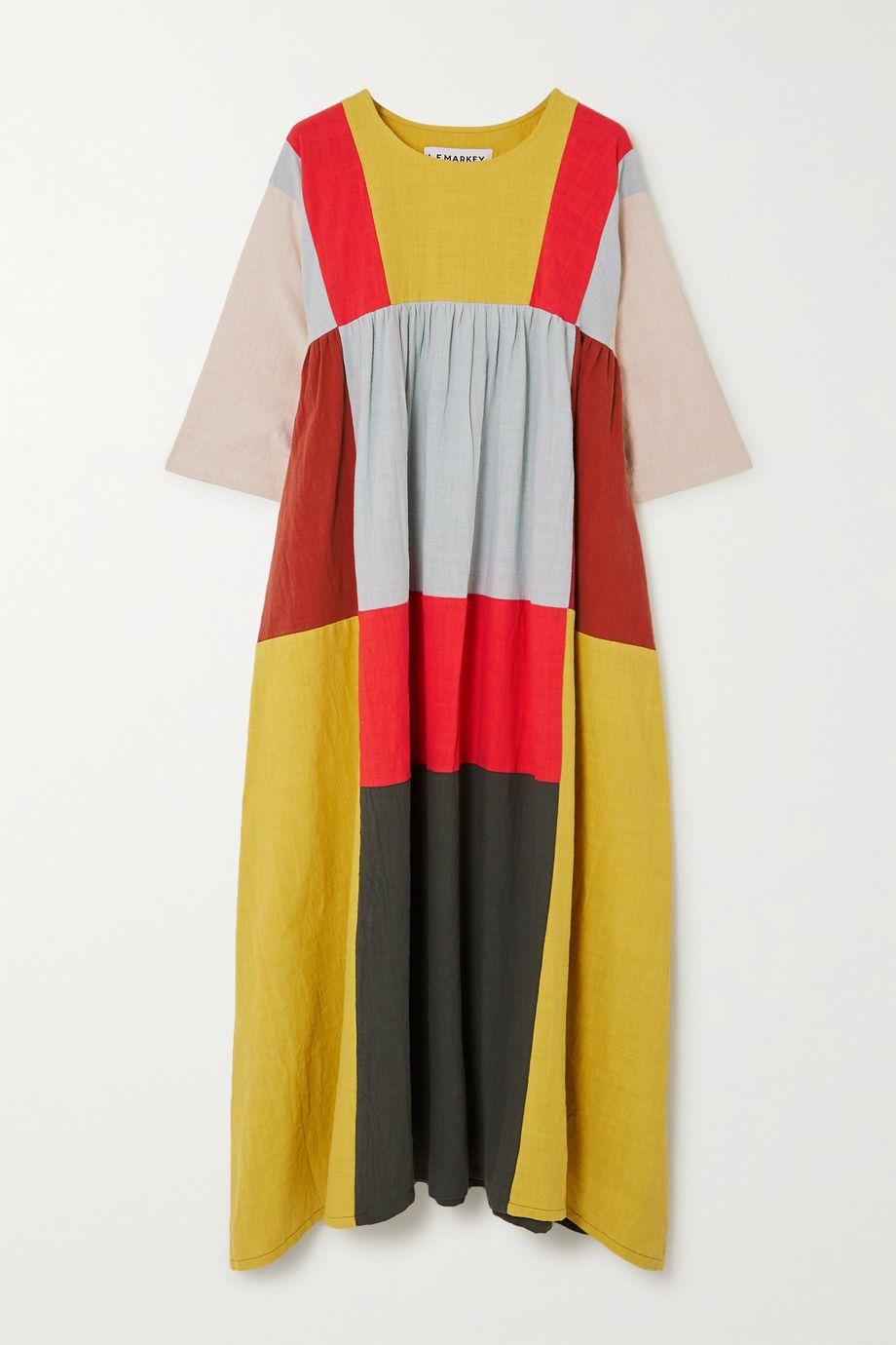 L.F.Markey Dustin patchwork cotton midi dress