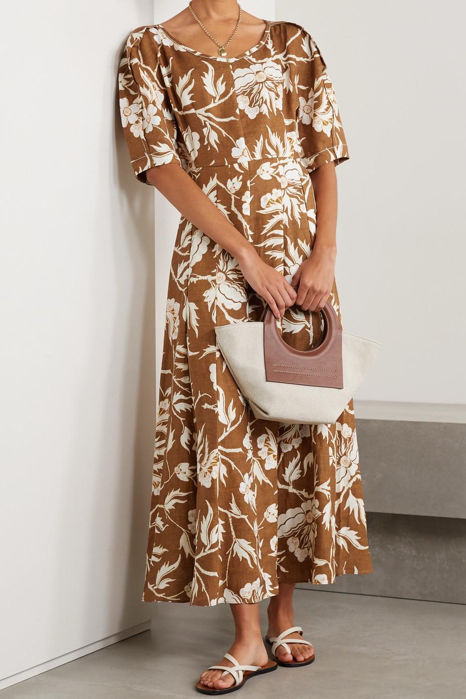 Mara Hoffman + NET SUSTAIN Sicily Midikleid aus Hanf mit Blumenprint