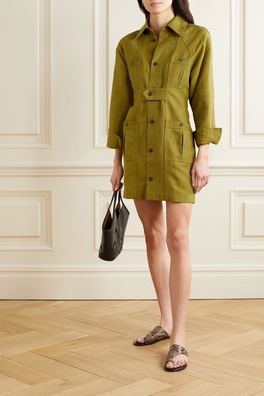 Mara Hoffman + NET SUSTAIN Ino linen and organic cotton-blend mini shirt dress