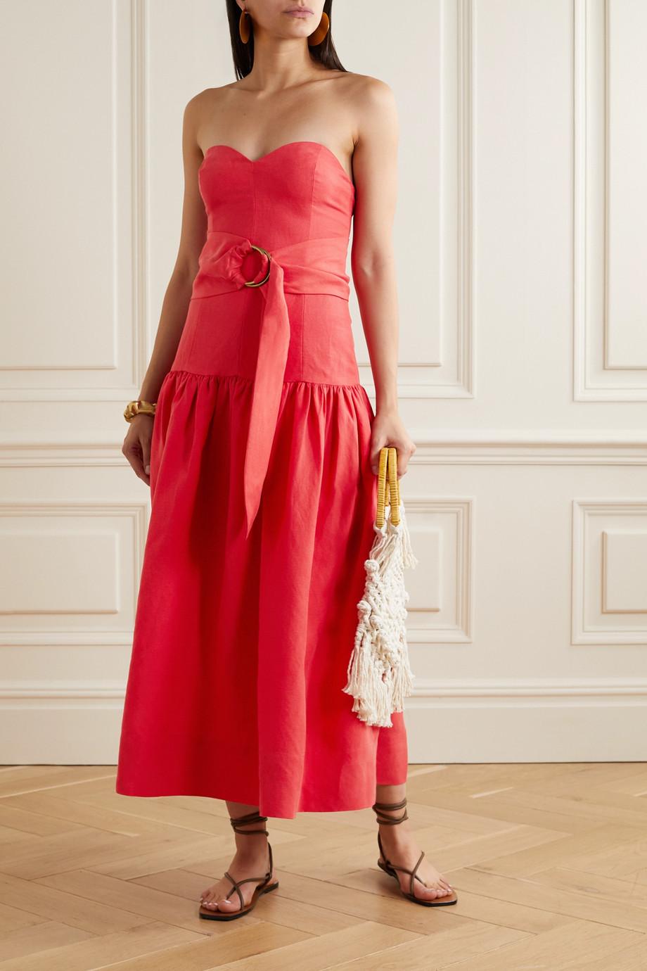 Mara Hoffman + NET SUSTAIN Augustina strapless belted Tencel and linen-blend midi dress