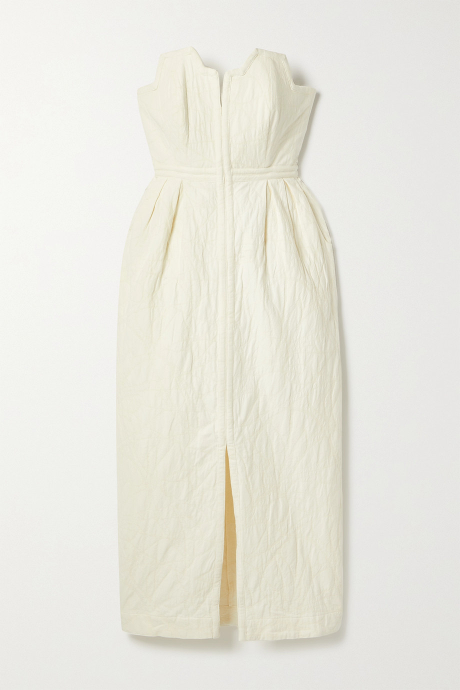 Mara Hoffman + NET SUSTAIN Aurelia strapless organic cotton and linen-blend jacquard midi dress