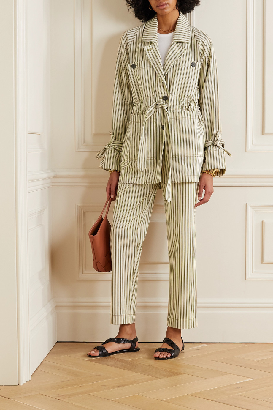 Mara Hoffman + NET SUSTAIN Arlo belted striped Tencel Lyocell and organic cotton-blend twill jacket