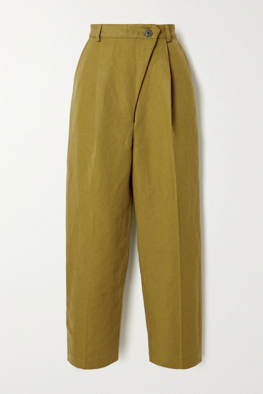 Mara Hoffman + NET SUSTAIN Almeria pleated linen and organic cotton-blend straight-leg pants