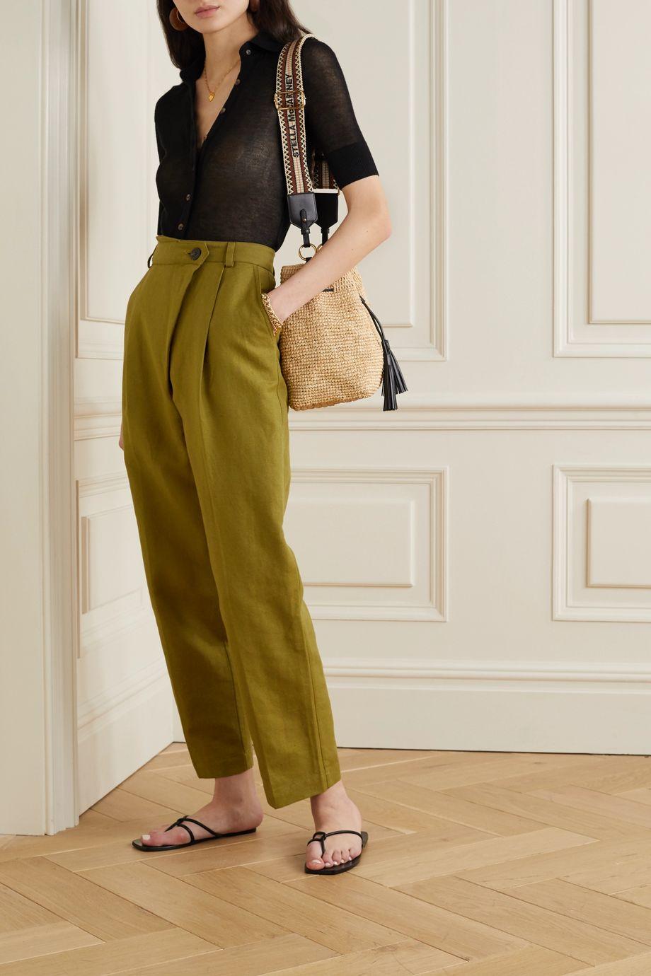 Mara Hoffman Pantalon droit en lin et coton biologique mélangés à plis Almeria - NET SUSTAIN