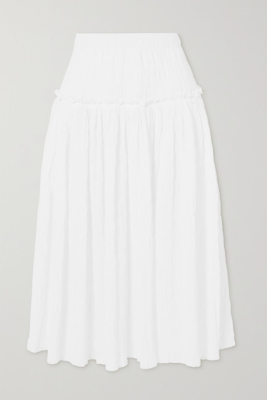 Mara Hoffman Alejandra tiered smocked organic stretch-cotton midi skirt
